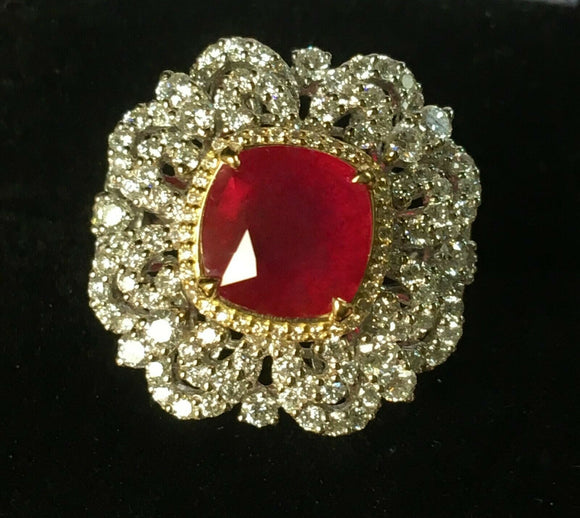 18K GOLD 6.34 CT. GIA CERTIFIED LARGE VS VIVID RED RUBY REGAL DIAMOND RING