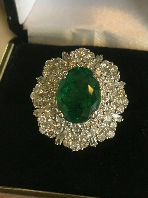 18K GOLD 11.04 CT. GIA CERTIFIED LARGE  AAA+ TSAVORITE GARNET & DIAMOND RING