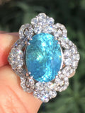 18K GOLD 7.49 CT. GIA CERTIFIED UNHEATED BLUE PARAIBA TOURMALINE DIAMOND RING