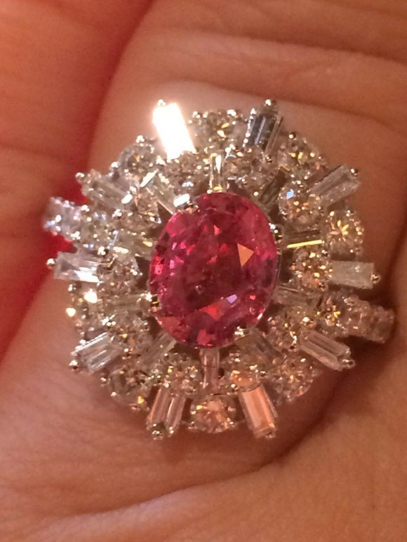18K GOLD 4.33 CT.  GIA CERTIFIED PINK PADPARADSCHA SAPPHIRE DIAMOND RING