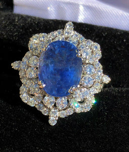 18K GOLD 10.56 CT GIA CERTIFIED UNHEATED NO HEAT BLUE SAPPHIRE DIAMOND RING!!