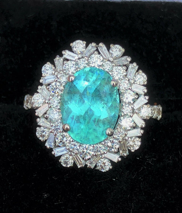 18K GOLD 3.58 CT. AGL CERTIFIED GIA BRAZILIAN PARAIBA TOURMALINE DIAMOND RING!!