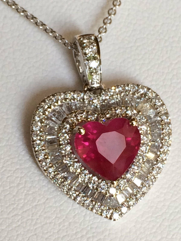 18K GOLD 4.83 CT GIA CERTIFIED NO HEAT UNHEATED RUBY DIAMOND HEART PENDANT NECKLACE!!