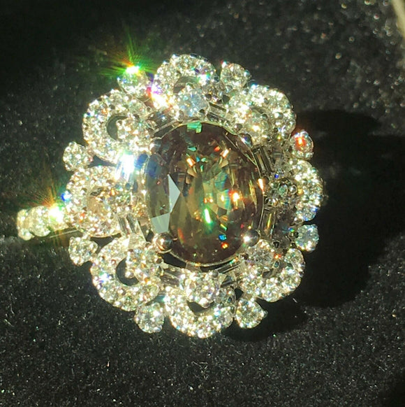 18K GOLD 4.03 CT GIA CERTIFIED GREEN TO PURPLE ALEXANDRITE DIAMOND RING!