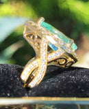 18K YELLOW GOLD 5.54 CT. CERTIFIED GIA BLUE PARAIBA TOURMALINE DIAMOND RING!!