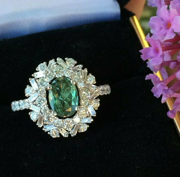 18K GOLD 3.68 CT GIA CERTIFIED GREEN TO PINK ALEXANDRITE DIAMOND SNOWFLAKE RING!