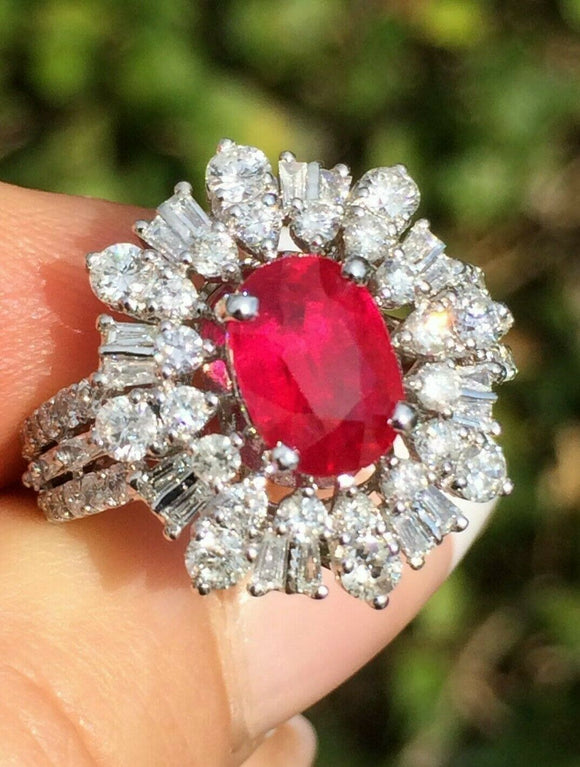 18K GOLD 4.47 CT GIA CERTIFIED NO HEAT VIVID RED UNHEATED RUBY DIAMOND RING!!