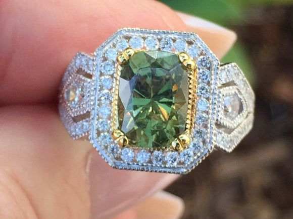 18K GOLD AAA+ 5.18 CT GIA CERTIFIED RARE GREEN DEMANTOID GARNET DIAMOND RING