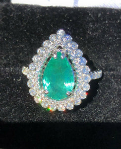 18K GOLD 5.66 CT. CERTIFIED GIA VIVID NEON  PARAIBA TOURMALINE DIAMOND RING!!