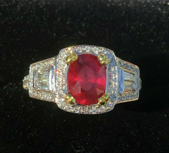 18K GOLD 4.28 CT UNHEATED GIA CERTIFIED NO HEAT VS VIVID RED RUBY DIAMOND RING!!