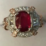 "18K GOLD 5.06 CT UNHEATED GIA CERTIFIED ""ART DECO"" NO HEAT VS VIVID RED RUBY DIAMOND RING"