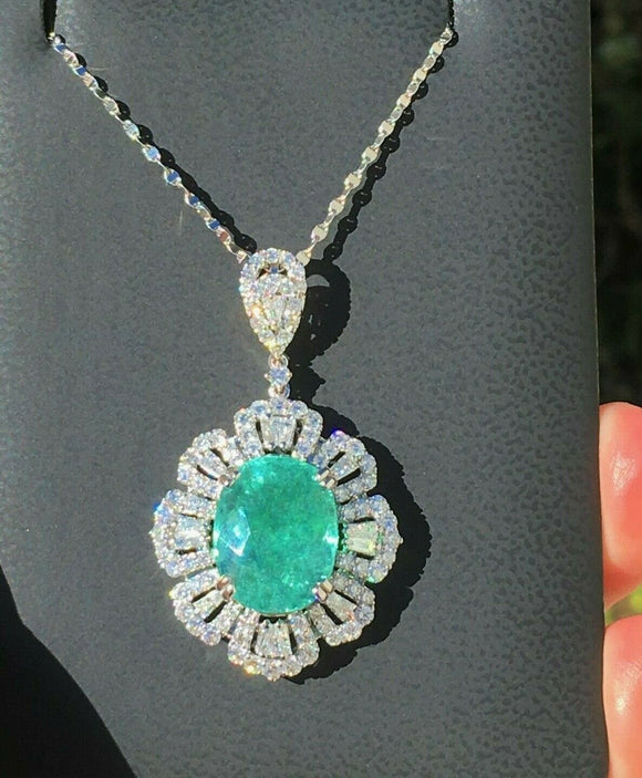18K GOLD 12.88CT GIA CERTIFIED PARAIBA TOURMALINE LARGE DIAMOND PENDANT NECKLACE