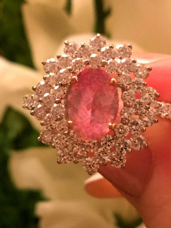 18K GOLD 5.78 CT AAA+ GIA CERTIFIED PINK PADPARADSCHA SAPPHIRE DIAMOND RING