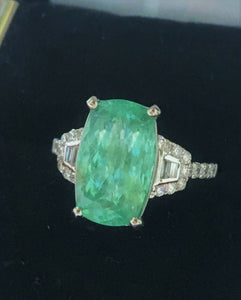 18K GOLD 6.97 CT. CERTIFIED GIA NEON CUSHION PARAIBA TOURMALINE DIAMOND RING!!