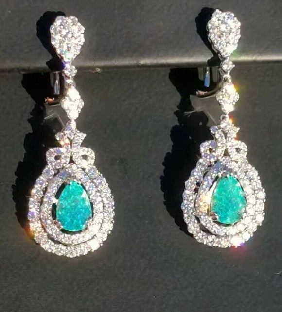 18K GOLD 7.56 CT. CERTIFIED GIA GREEN BLUE PARAIBA TOURMALINE DIAMOND EARRINGS!!