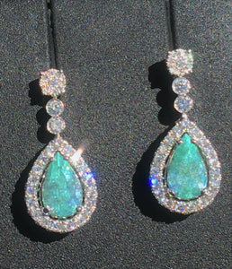 18K GOLD 5.24 CT. CERTIFIED GIA BLUE GREEN PARAIBA TOURMALINE DIAMOND EARRINGS