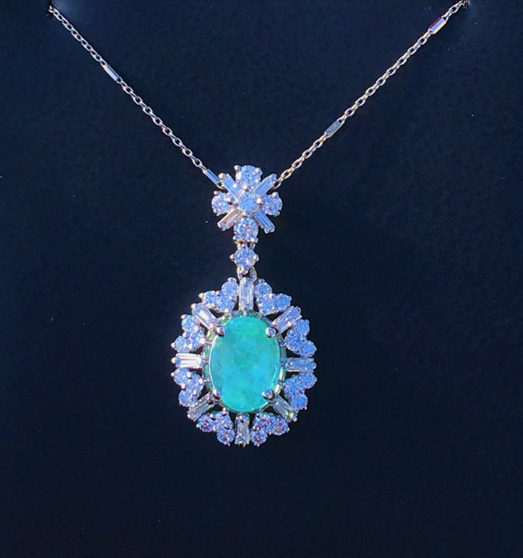 18K GOLD 4.58 CT CERTIFIED GIA PARAIBA TOURMALINE NEON DIAMOND PENDANT NECKLACE