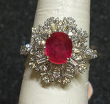 18K GOLD 4.11 CT UNHEATED AAA+ GIA CERTIFIED NO HEAT VIVID RED RUBY DIAMOND RING