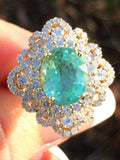 18K YELLOW GOLD 6.02 CT. GIA CERTIFIED NEON PARAIBA TOURMALINE & DIAMOND RING