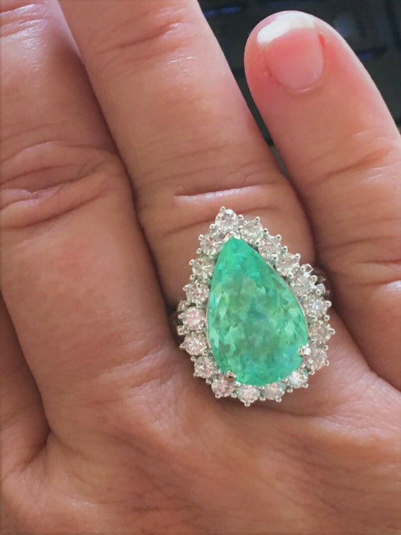 18K GOLD 10.48 CT. CERTIFIED GIA LARGE NEON  PARAIBA TOURMALINE DIAMOND RING!!