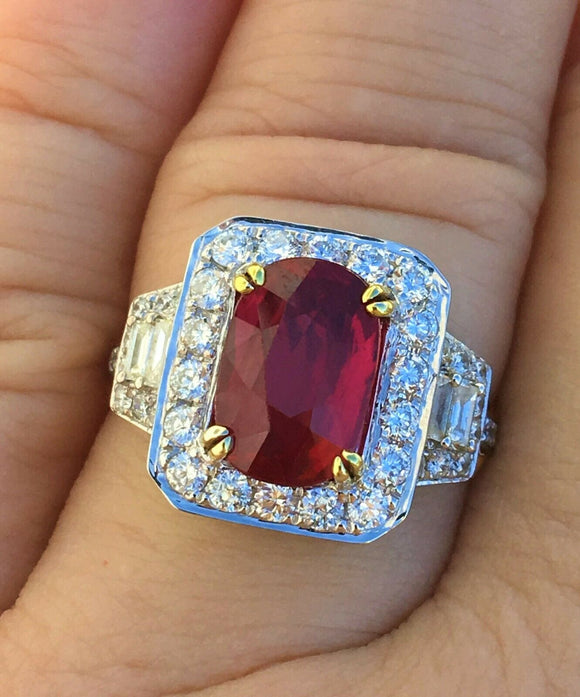 18K GOLD 5.17 CT GIA CERTIFIED NO HEAT VIVID RED UNHEATED RUBY DIAMOND RING!!