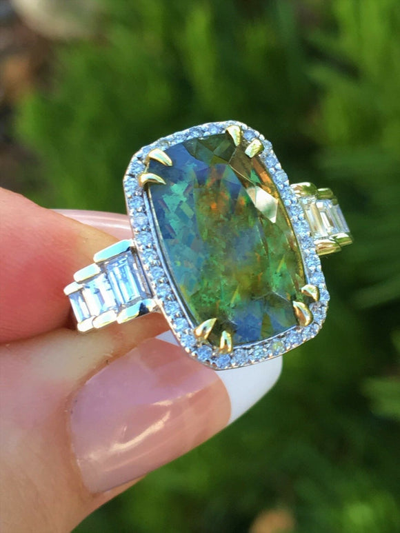 18K GOLD AAA+ 8.27 CT GIA CERTIFIED RARE GREEN DEMANTOID GARNET DIAMOND RING