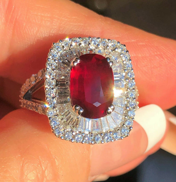 18K GOLD 5.68 CT UNHEATED GIA CERTIFIED NO HEAT VS VIVID RED RUBY DIAMOND RING!!