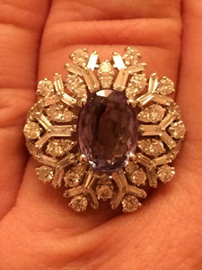 18K GOLD 4.87 CT GIA CERTIFIED BLUE GREEN TO PURPLE ALEXANDRITE DIAMOND RING!