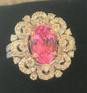 18K GOLD 6.54CT AGL CERTIFIED NO HEAT GIA PADPARADSCHA SAPPHIRE DIAMOND RING