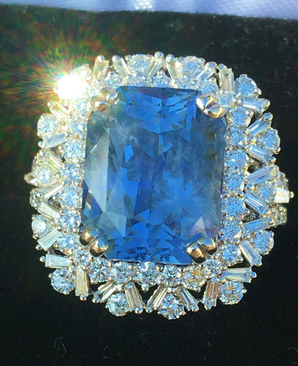 18K GOLD 12.79 CT. UNHEATED GIA CERTIFIED NO HEAT BLUE SAPPHIRE DIAMOND RING!!