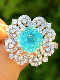 18K GOLD 4.85 CT. CERTIFIED GIA UNHEATED ROUND NEON PARAIBA TOURMALINE DIAMOND RING