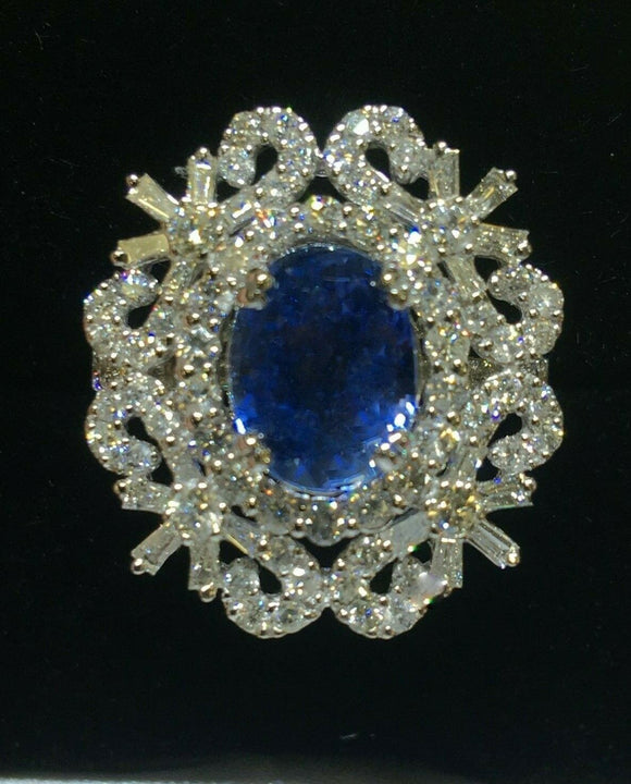 18K GOLD 5.85 CT.  GIA CERTIFIED AAA+ ROYAL BLUE SAPPHIRE DIAMOND RING