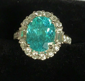 18K GOLD 6.35 CT. AGL CERTIFIED AAA+  GIA NEON  PARAIBA TOURMALINE DIAMOND RING!