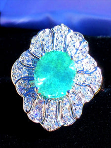 "18K GOLD 5.72 CT. CERTIFIED GIA ""ART DECO"" NEON PARAIBA TOURMALINE DIAMOND RING"