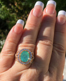 18K ROSE GOLD 5.71 CT CERTIFIED GIA NEON PARAIBA TOURMALINE DIAMOND RING