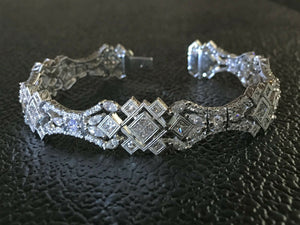 "18K WHITE GOLD 12.84 CT. ""VS"" DIAMOND ""F"" COLOR  HIGH-END COUTURE BRACELET!!"
