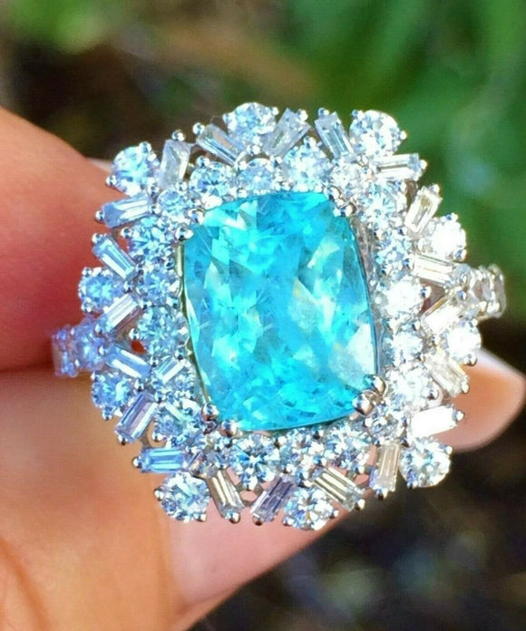 18K GOLD 4.47 AGL CERTIFIED GIA NEON BRAZILIAN PARAIBA TOURMALINE DIAMOND RING