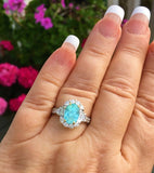 18K GOLD 4.70 CT CERTIFIED GIA NEON GREEN BLUE PARAIBA TOURMALINE DIAMOND RING!!