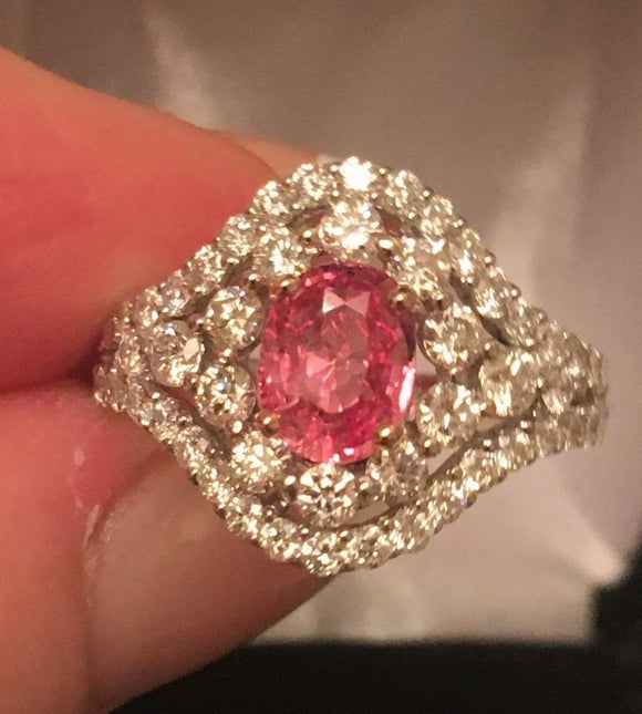 18K GOLD 4.58 CT.  GIA CERTIFIED PINK PADPARADSCHA SAPPHIRE DIAMOND RING