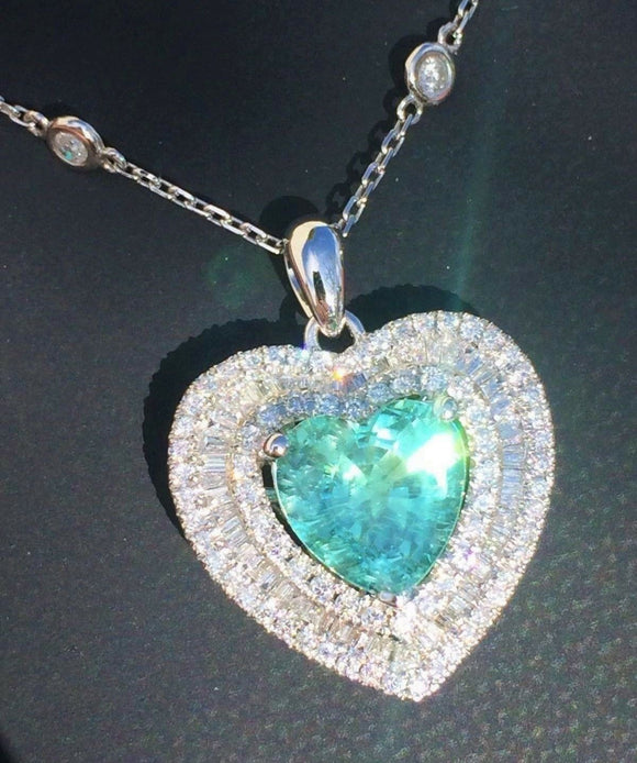 18K GOLD 4.92CT CERTIFIED GIA HEART PARAIBA TOURMALINE DIAMOND PENDANT NECKLACE