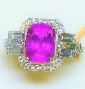 "18K GOLD 5.72 CT GIA CERTIFIED NO 1 HEAT ""DECO"" HOT PINK SAPPHIRE DIAMOND RING!!"