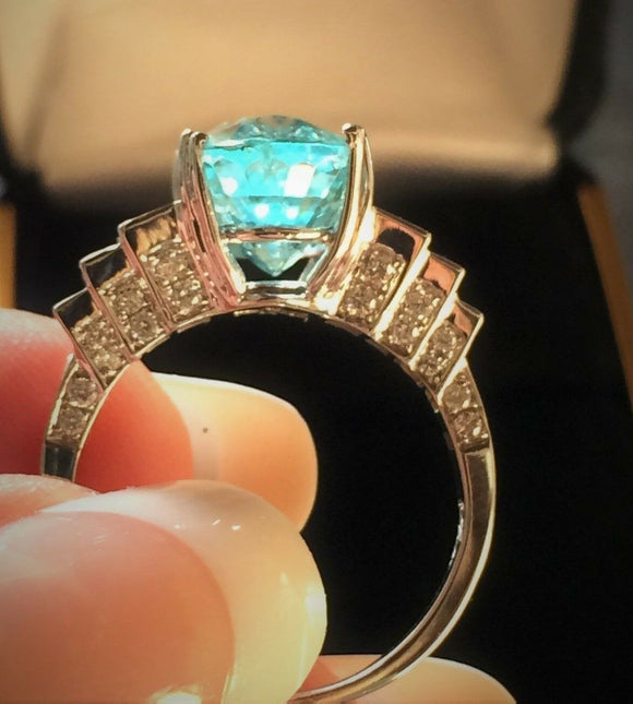 14K GOLD 5.60 CT CERTIFIED GIA NEON GREEN BLUE PARAIBA TOURMALINE DIAMOND RING!!