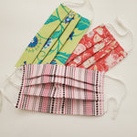 Youth Upcycled Pleated Mask w/adjustable Ear Loops - Stretch Poplin Print