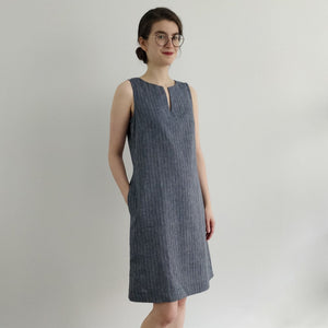 Hemp Denim Stripe Shift Dress