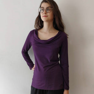 TOC Jersey Drape Neck Top - Long Sleeve