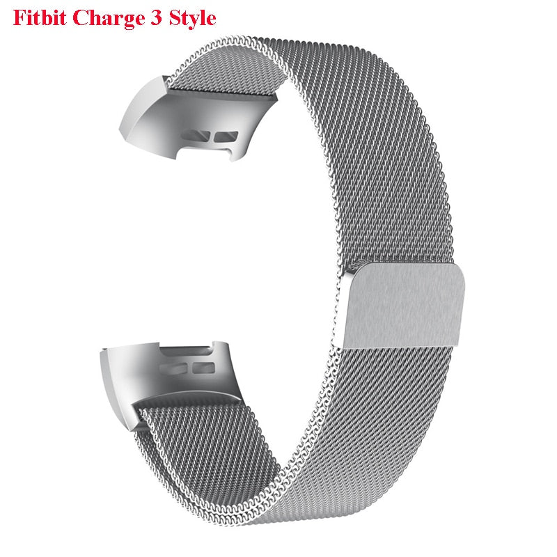 Magnetic Stainless Steel Milanese Loop Band for Fitbit Charge 2 & 3