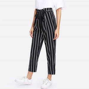 High Waist Striped Pants-Pants-Citrus Lemon -Citrus Lemon