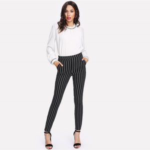 Vertical Striped Skinny Pants-Pants-Citrus Lemon -Citrus Lemon