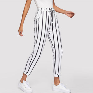 Black/White Carrot Pants-pants-Citrus Lemon -Citrus Lemon