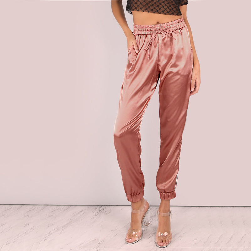 Satin Luxe Joggers Pink